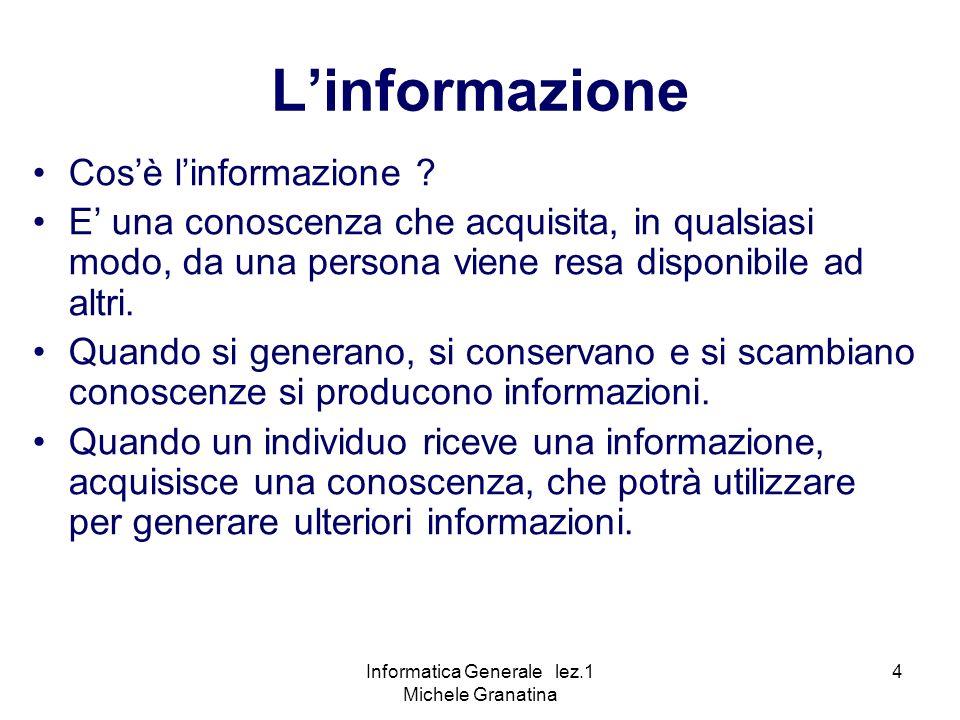 Informatica Generale lez.1 Michele Granatina 4 Linformazione Cosè linformazione .