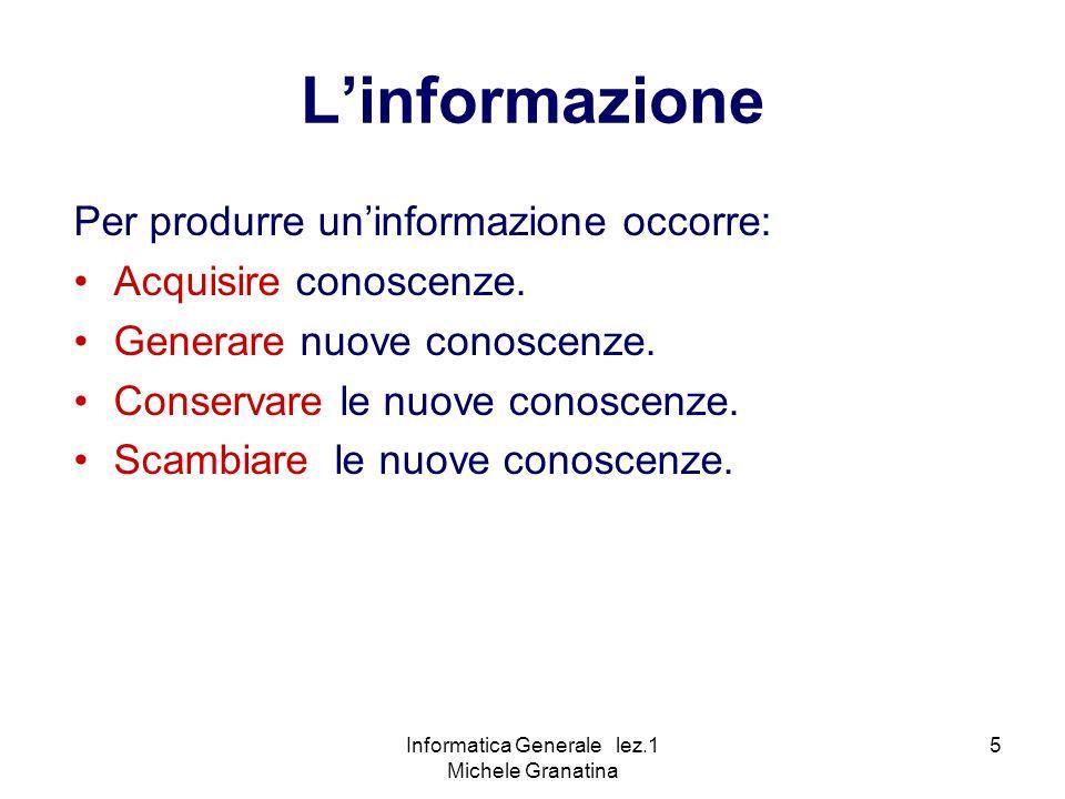 Informatica Generale lez.1 Michele Granatina 5 Linformazione Per produrre uninformazione occorre: Acquisire conoscenze.