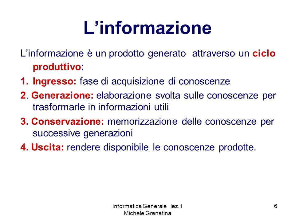 Informatica Generale lez.1 Michele Granatina 6 Linformazione Linformazione è un prodotto generato attraverso un ciclo produttivo: 1.Ingresso: fase di acquisizione di conoscenze 2.
