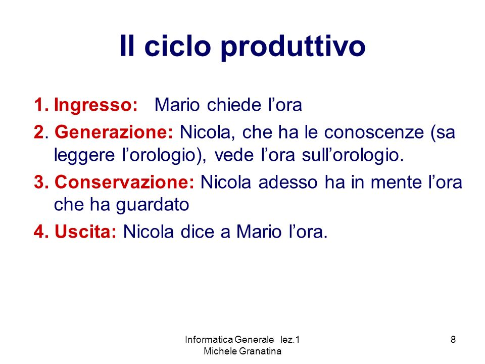 Informatica Generale lez.1 Michele Granatina 8 1.Ingresso: Mario chiede lora 2.
