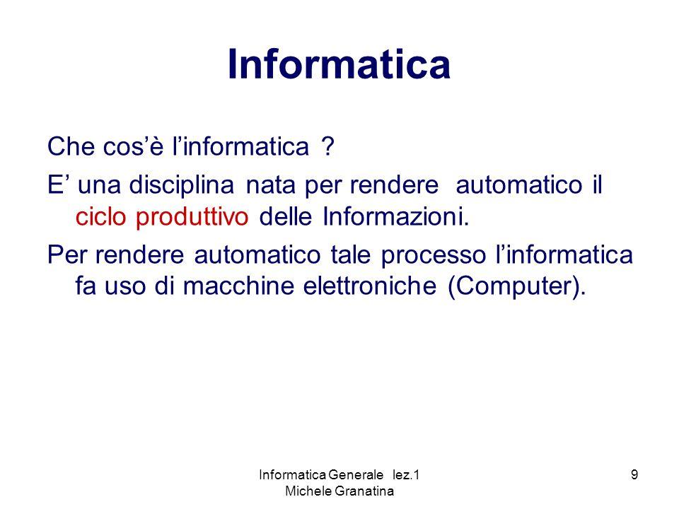 Informatica Generale lez.1 Michele Granatina 10 Tecnologia dei Computer Cosè un computer .