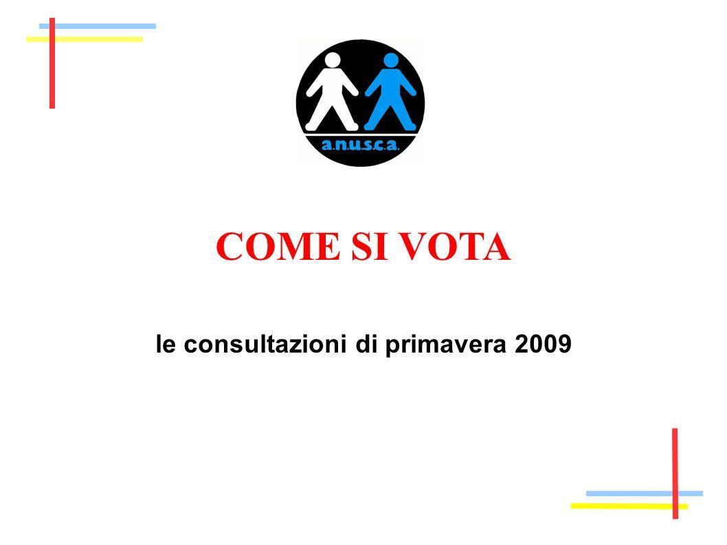 COME SI VOTA le consultazioni di primavera 2009