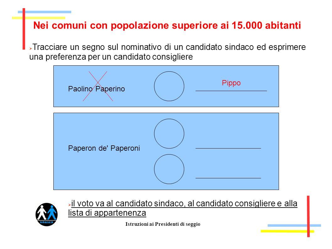 Istruzioni ai Presidenti di seggio Nei comuni con popolazione superiore ai 15.000 abitanti Tracciare un segno sul nominativo di un candidato sindaco e