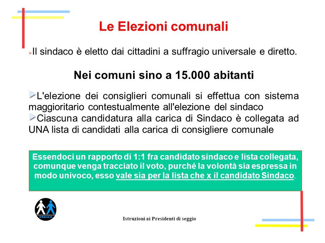Istruzioni ai Presidenti di seggio Le Elezioni comunali Il sindaco è eletto dai cittadini a suffragio universale e diretto. Nei comuni sino a 15.000 a