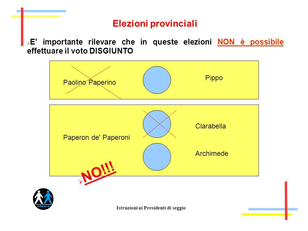 Istruzioni ai Presidenti di seggio Elezioni provinciali E importante rilevare che in queste elezioni NON è possibile effettuare il voto DISGIUNTO Paolino Paperino Paperon de Paperoni NO!!.