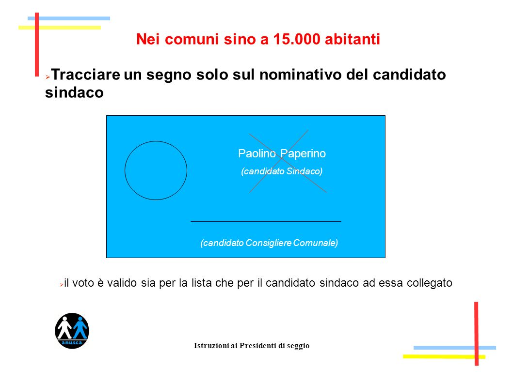 Istruzioni ai Presidenti di seggio Nei comuni sino a 15.000 abitanti Tracciare un segno solo sul nominativo del candidato sindaco Paolino Paperino (ca