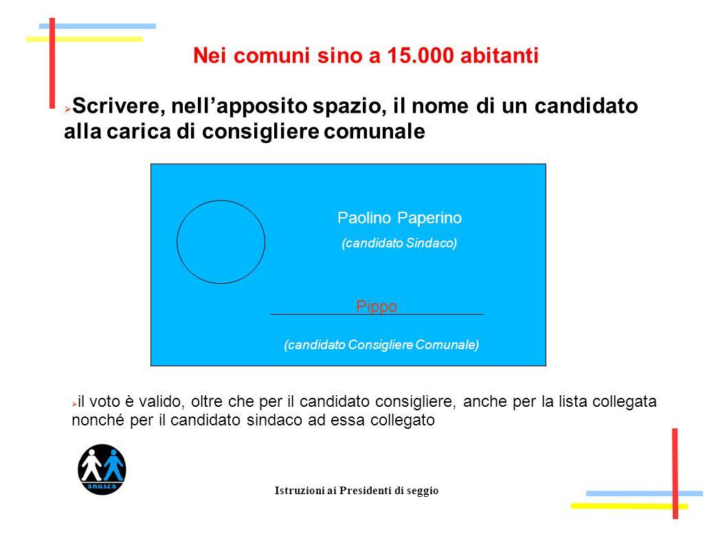 Istruzioni ai Presidenti di seggio Nei comuni sino a 15.000 abitanti Scrivere, nellapposito spazio, il nome di un candidato alla carica di consigliere