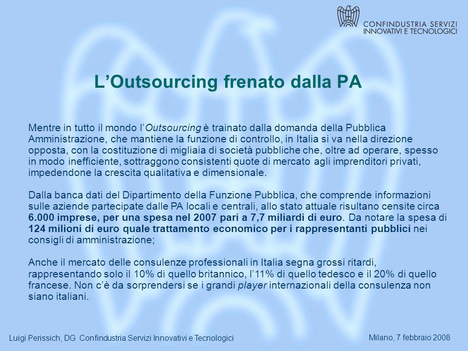 Milano, 7 febbraio 2008 Luigi Perissich, DG Confindustria Servizi Innovativi e Tecnologici LOutsourcing frenato dalla PA Mentre in tutto il mondo lOutsourcing è trainato dalla domanda della Pubblica Amministrazione, che mantiene la funzione di controllo, in Italia si va nella direzione opposta, con la costituzione di migliaia di società pubbliche che, oltre ad operare, spesso in modo inefficiente, sottraggono consistenti quote di mercato agli imprenditori privati, impedendone la crescita qualitativa e dimensionale.