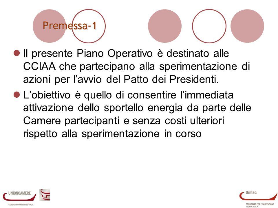 Premessa-1 Il presente Piano Operativo è destinato alle CCIAA che partecipano alla sperimentazione di azioni per lavvio del Patto dei Presidenti.