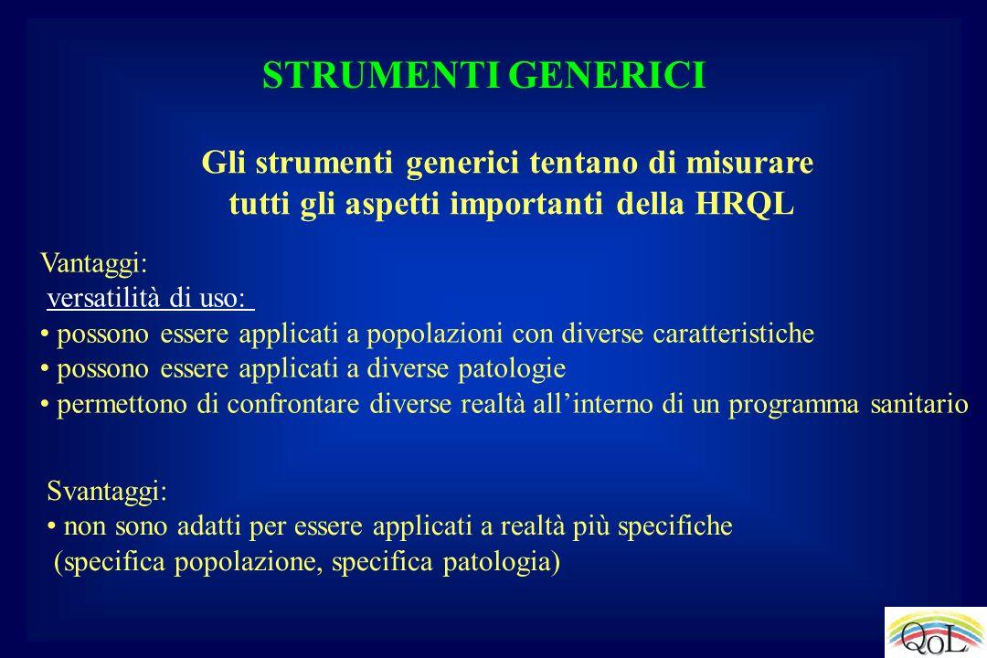 STRUMENTI GENERICI Gli strumenti generici tentano di misurare tutti gli aspetti importanti della HRQL Vantaggi: versatilità di uso: possono essere app