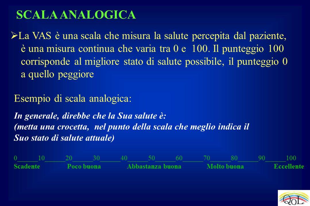 SCALA ANALOGICA Esempio di scala analogica: In generale, direbbe che la Sua salute è: (metta una crocetta, nel punto della scala che meglio indica il