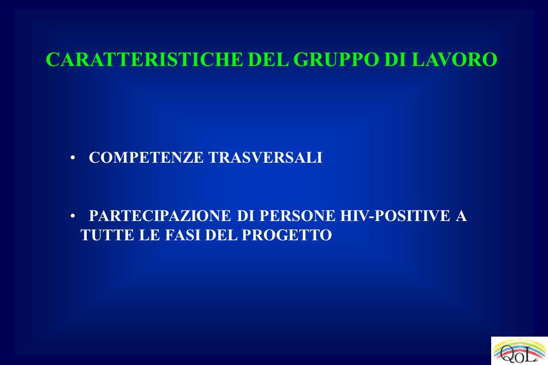 CARATTERISTICHE DEL GRUPPO DI LAVORO COMPETENZE TRASVERSALI PARTECIPAZIONE DI PERSONE HIV-POSITIVE A TUTTE LE FASI DEL PROGETTO