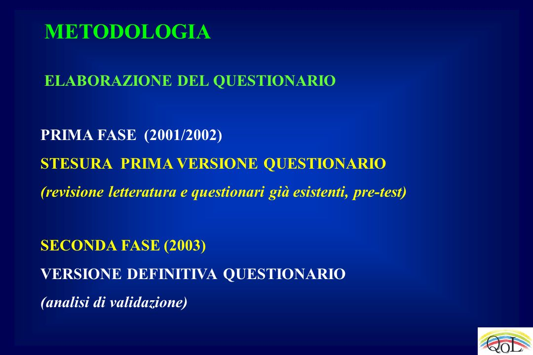 ELABORAZIONE DEL QUESTIONARIO PRIMA FASE (2001/2002) STESURA PRIMA VERSIONE QUESTIONARIO (revisione letteratura e questionari già esistenti, pre-test)