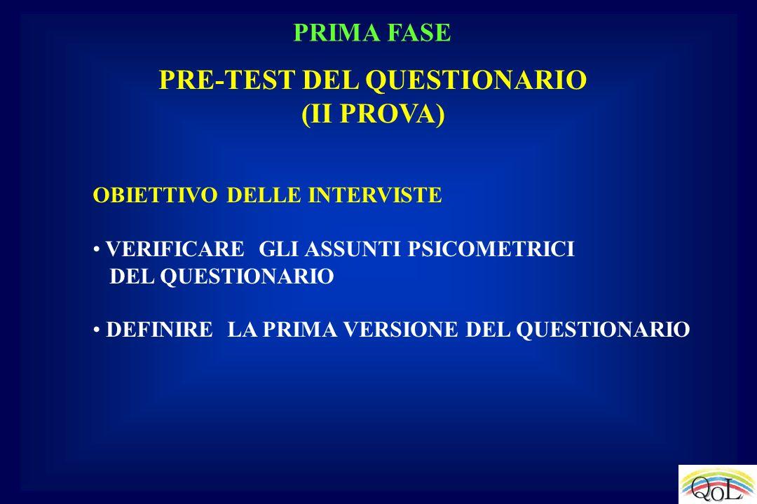 PRE-TEST DEL QUESTIONARIO (II PROVA) OBIETTIVO DELLE INTERVISTE VERIFICARE GLI ASSUNTI PSICOMETRICI DEL QUESTIONARIO DEFINIRE LA PRIMA VERSIONE DEL QU