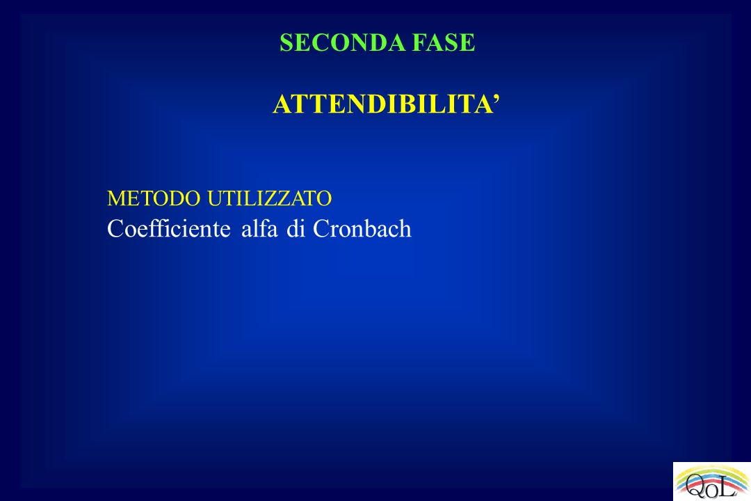METODO UTILIZZATO Coefficiente alfa di Cronbach ATTENDIBILITA SECONDA FASE