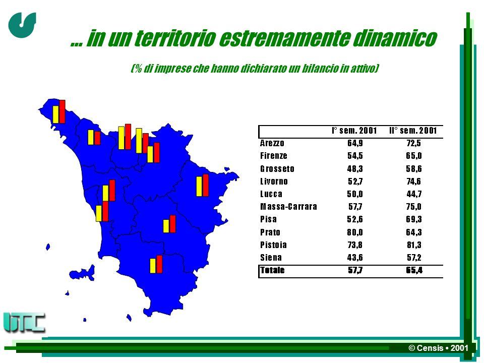 © Censis 2001 … in un territorio estremamente dinamico (% di imprese che hanno dichiarato un bilancio in attivo)