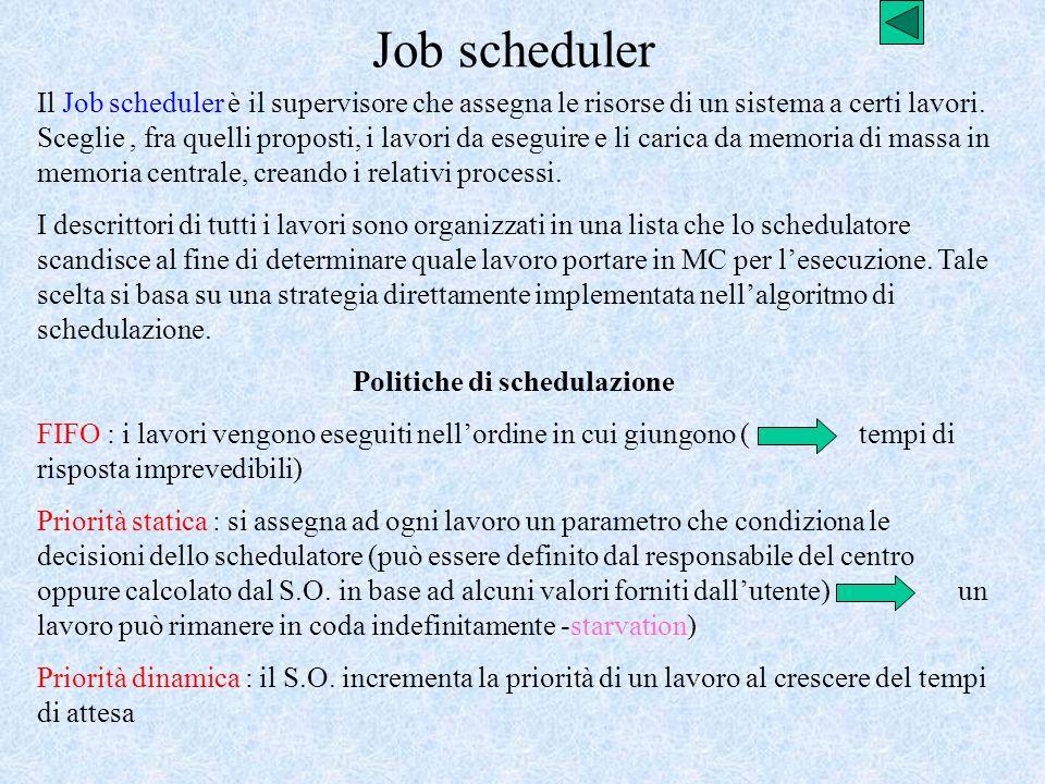 Job scheduler Il Job scheduler è il supervisore che assegna le risorse di un sistema a certi lavori. Sceglie, fra quelli proposti, i lavori da eseguir