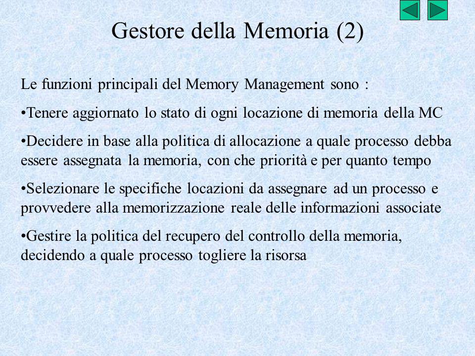 Gestore della Memoria (2) Le funzioni principali del Memory Management sono : Tenere aggiornato lo stato di ogni locazione di memoria della MC Decider