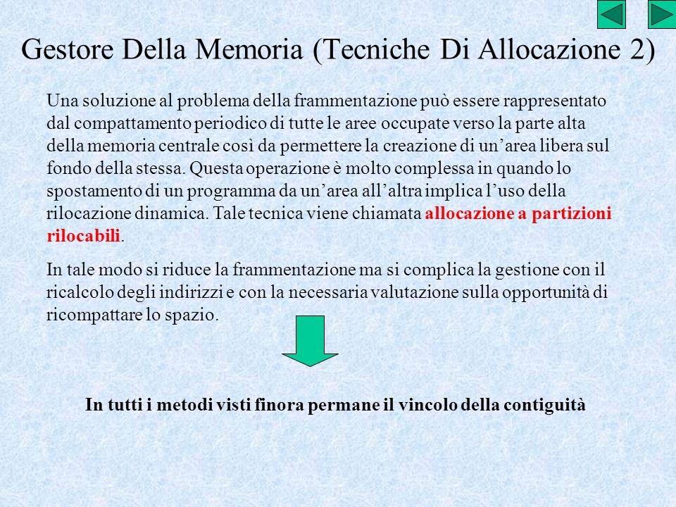 Gestore Della Memoria (Tecniche Di Allocazione 2) Una soluzione al problema della frammentazione può essere rappresentato dal compattamento periodico
