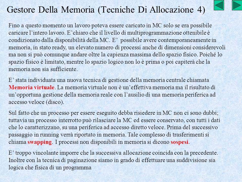 Gestore Della Memoria (Tecniche Di Allocazione 4) Fino a questo momento un lavoro poteva essere caricato in MC solo se era possibile caricare lintero