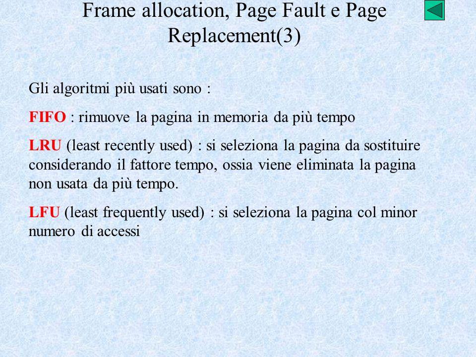 Frame allocation, Page Fault e Page Replacement(3) Gli algoritmi più usati sono : FIFO : rimuove la pagina in memoria da più tempo LRU (least recently