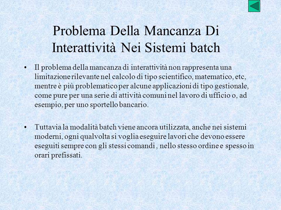 Problema Della Mancanza Di Interattività Nei Sistemi batch Il problema della mancanza di interattività non rappresenta una limitazione rilevante nel c