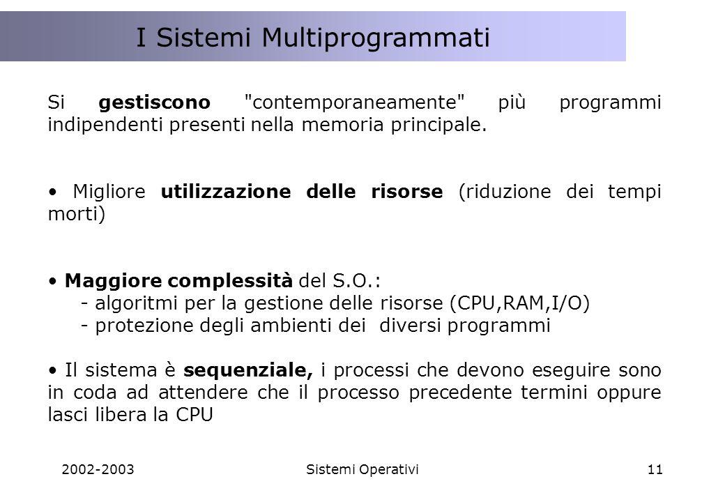 2002-2003Sistemi Operativi11 I Sistemi Multiprogrammati Si gestiscono contemporaneamente più programmi indipendenti presenti nella memoria principale.