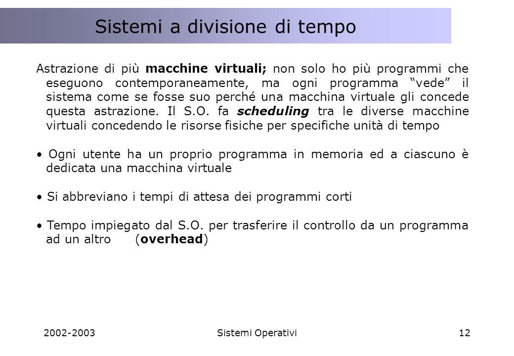 2002-2003Sistemi Operativi12 Programmazione Client Side e Server Side Sistemi a divisione di tempo Astrazione di più macchine virtuali; non solo ho pi