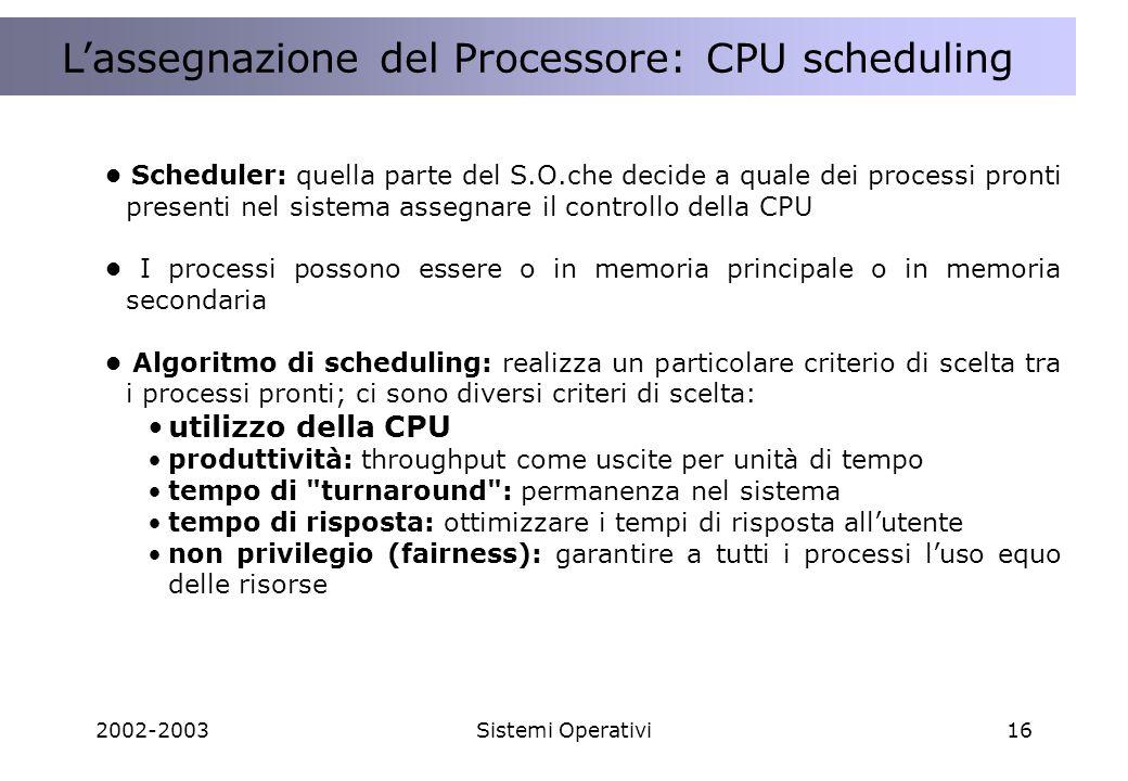 2002-2003Sistemi Operativi16 A cosa serve una Applicazione Distribuita ? Lassegnazione del Processore: CPU scheduling Scheduler: quella parte del S.O.