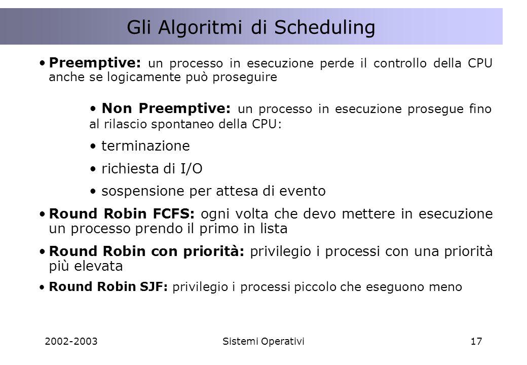 2002-2003Sistemi Operativi17 La concorrenza nellinterazione tra Client e Server Gli Algoritmi di Scheduling Preemptive: un processo in esecuzione perde il controllo della CPU anche se logicamente può proseguire Non Preemptive: un processo in esecuzione prosegue fino al rilascio spontaneo della CPU: terminazione richiesta di I/O sospensione per attesa di evento Round Robin FCFS: ogni volta che devo mettere in esecuzione un processo prendo il primo in lista Round Robin con priorità: privilegio i processi con una priorità più elevata Round Robin SJF: privilegio i processi piccolo che eseguono meno