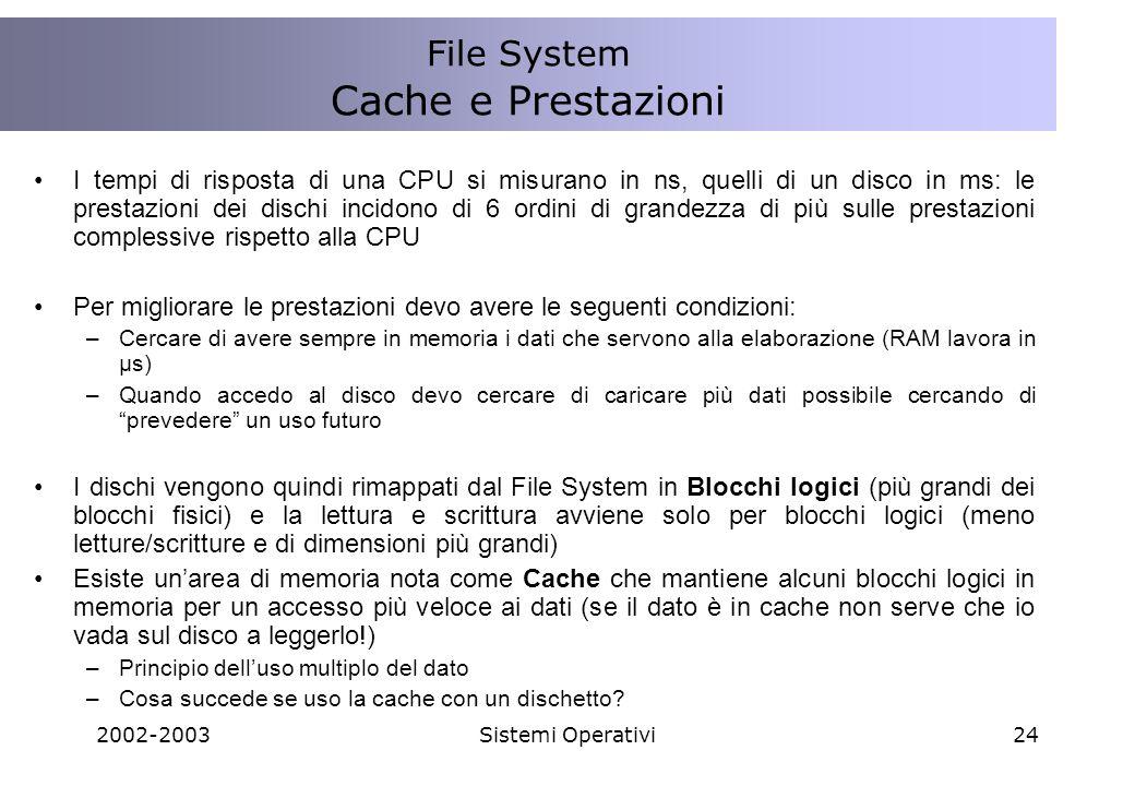 2002-2003Sistemi Operativi24 I tempi di risposta di una CPU si misurano in ns, quelli di un disco in ms: le prestazioni dei dischi incidono di 6 ordin