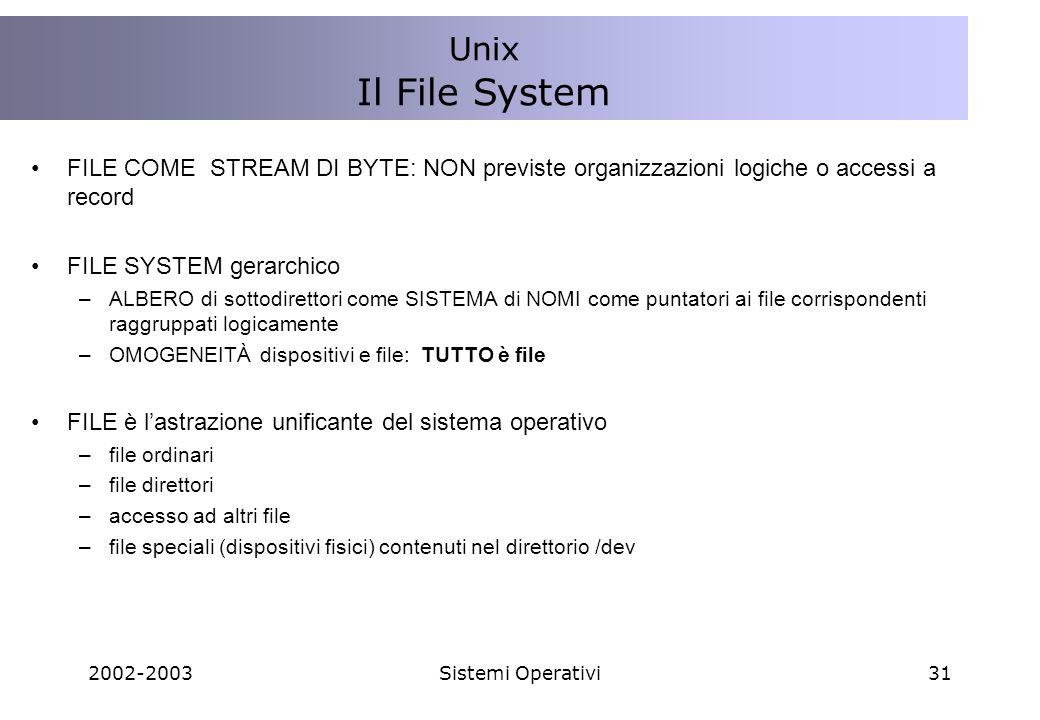 2002-2003Sistemi Operativi31 FILE COME STREAM DI BYTE: NON previste organizzazioni logiche o accessi a record FILE SYSTEM gerarchico –ALBERO di sottodirettori come SISTEMA di NOMI come puntatori ai file corrispondenti raggruppati logicamente –OMOGENEITÀ dispositivi e file: TUTTO è file FILE è lastrazione unificante del sistema operativo –file ordinari –file direttori –accesso ad altri file –file speciali (dispositivi fisici) contenuti nel direttorio /dev Unix Il File System