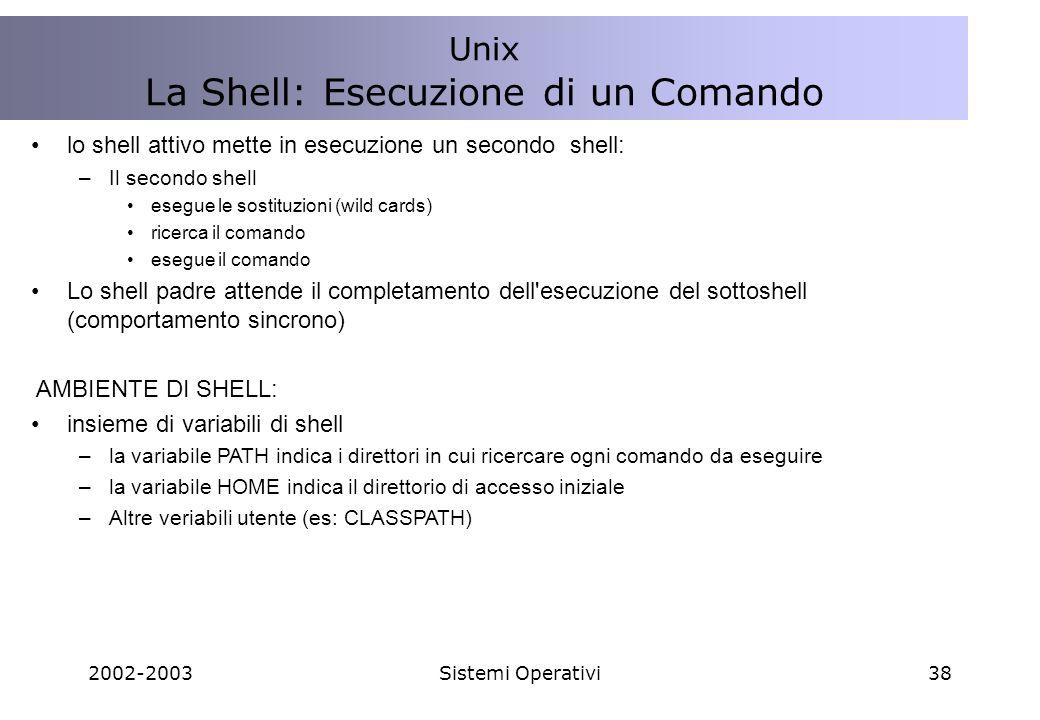2002-2003Sistemi Operativi38 lo shell attivo mette in esecuzione un secondo shell: –Il secondo shell esegue le sostituzioni (wild cards) ricerca il comando esegue il comando Lo shell padre attende il completamento dell esecuzione del sottoshell (comportamento sincrono) AMBIENTE DI SHELL: insieme di variabili di shell –la variabile PATH indica i direttori in cui ricercare ogni comando da eseguire –la variabile HOME indica il direttorio di accesso iniziale –Altre veriabili utente (es: CLASSPATH) Unix La Shell: Esecuzione di un Comando