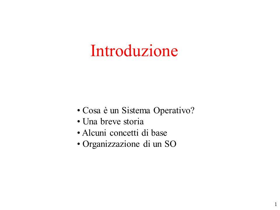 1 Introduzione Cosa è un Sistema Operativo? Una breve storia Alcuni concetti di base Organizzazione di un SO