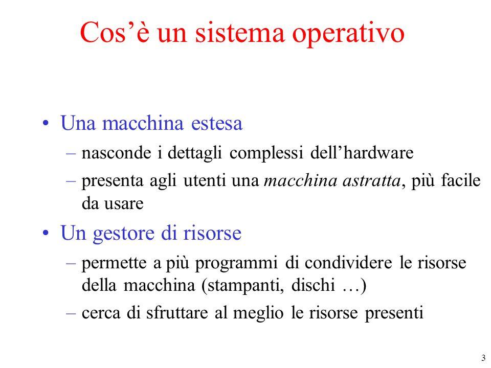 3 Cosè un sistema operativo Una macchina estesa –nasconde i dettagli complessi dellhardware –presenta agli utenti una macchina astratta, più facile da