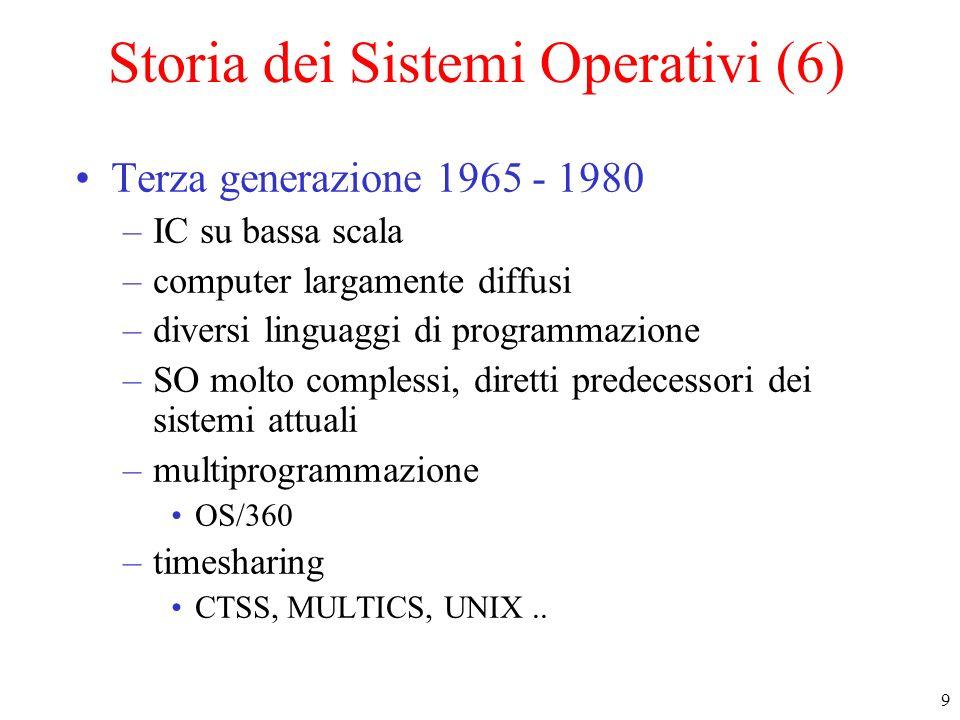 9 Storia dei Sistemi Operativi (6) Terza generazione 1965 - 1980 –IC su bassa scala –computer largamente diffusi –diversi linguaggi di programmazione