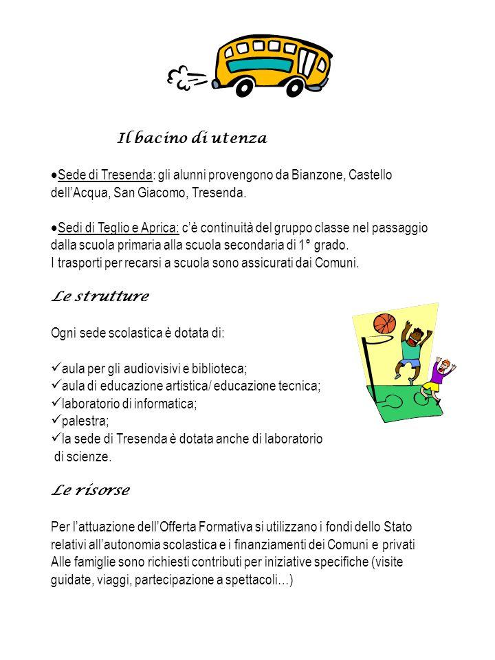 Il bacino di utenza Sede di Tresenda: gli alunni provengono da Bianzone, Castello dellAcqua, San Giacomo, Tresenda.