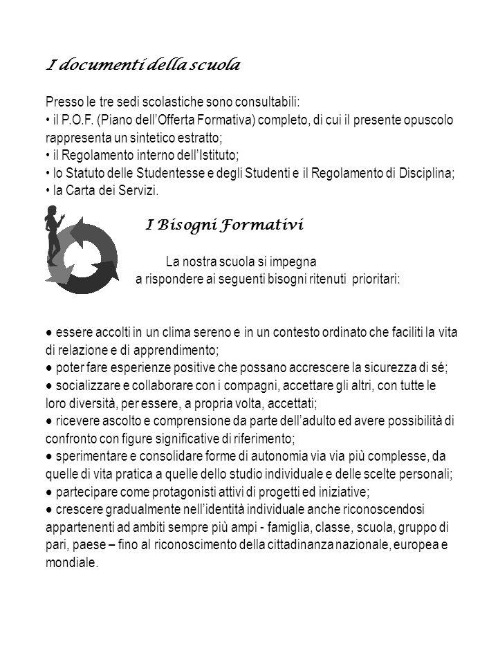 I documenti della scuola Presso le tre sedi scolastiche sono consultabili: il P.O.F.