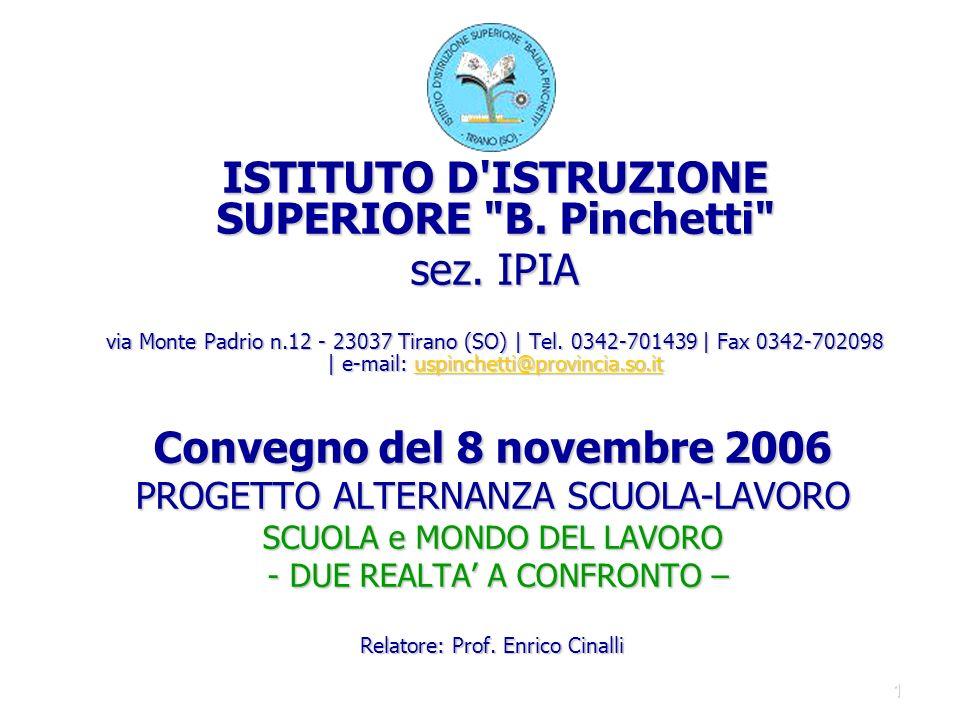 1 Convegno del 8 novembre 2006 PROGETTO ALTERNANZA SCUOLA-LAVORO SCUOLA e MONDO DEL LAVORO - DUE REALTA A CONFRONTO – Relatore: Prof.
