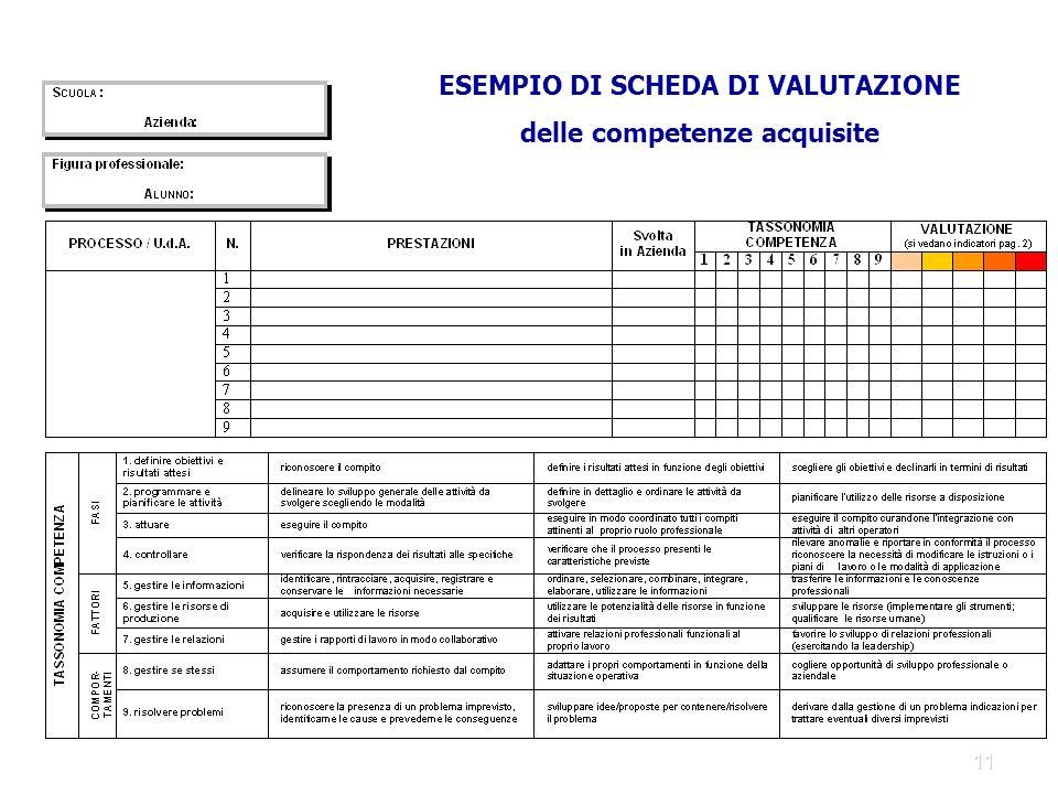 11 ESEMPIO DI SCHEDA DI VALUTAZIONE delle competenze acquisite