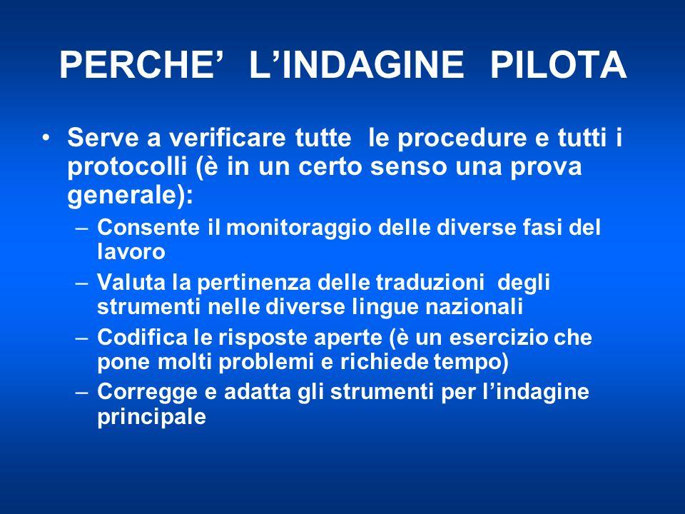PERCHE LINDAGINE PILOTA Serve a verificare tutte le procedure e tutti i protocolli (è in un certo senso una prova generale): –Consente il monitoraggio