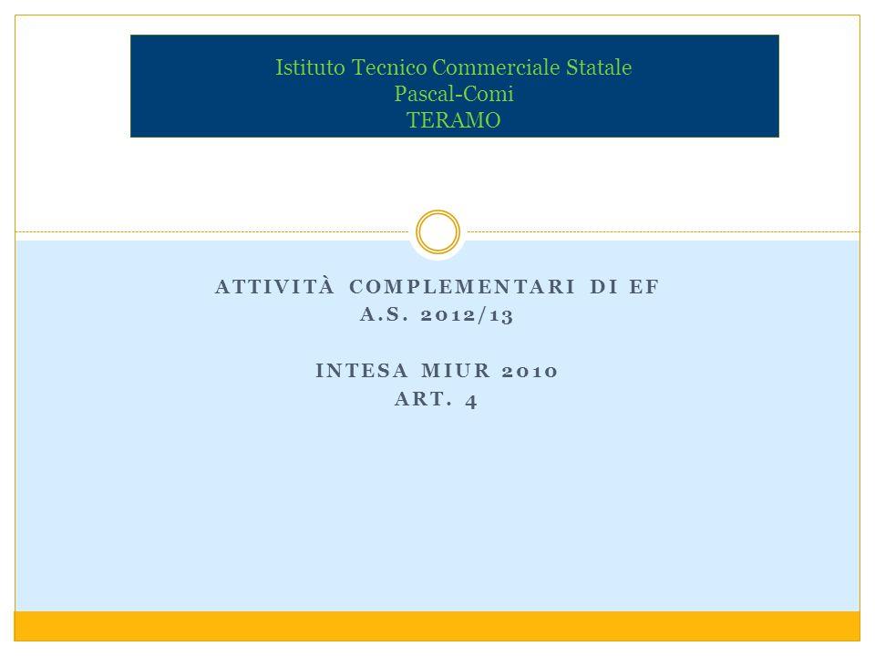 ATTIVITÀ COMPLEMENTARI DI EF A.S. 2012/13 INTESA MIUR 2010 ART. 4 Istituto Tecnico Commerciale Statale Pascal-Comi TERAMO