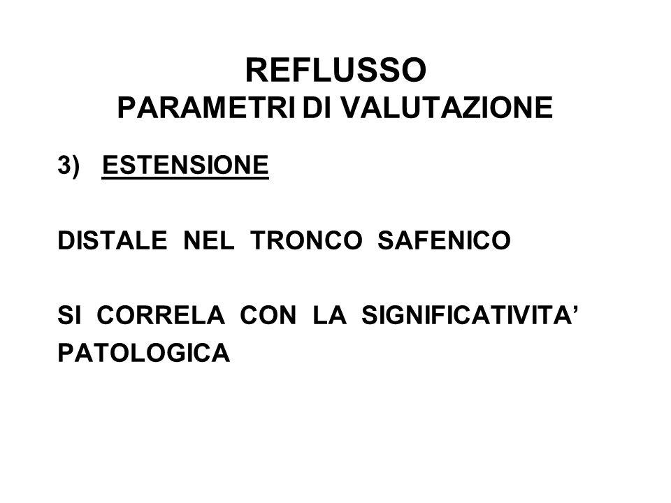 REFLUSSO PARAMETRI DI VALUTAZIONE 3) ESTENSIONE DISTALE NEL TRONCO SAFENICO SI CORRELA CON LA SIGNIFICATIVITA PATOLOGICA