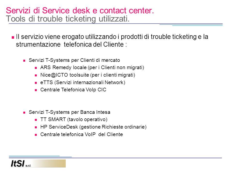 Servizi di Service desk e contact center. Tools di trouble ticketing utilizzati. Il servizio viene erogato utilizzando i prodotti di trouble ticketing