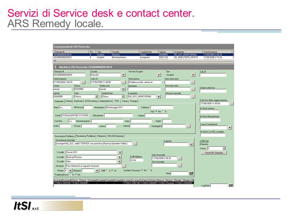Servizi di Service desk e contact center. ARS Remedy locale.