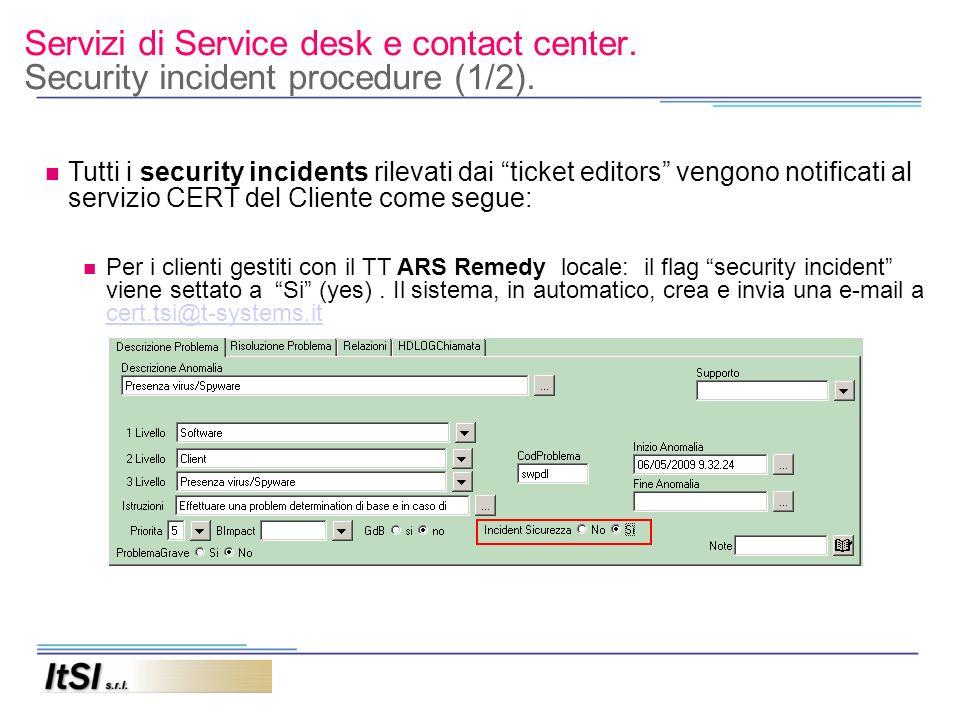 Servizi di Service desk e contact center. Security incident procedure (1/2). Tutti i security incidents rilevati dai ticket editors vengono notificati