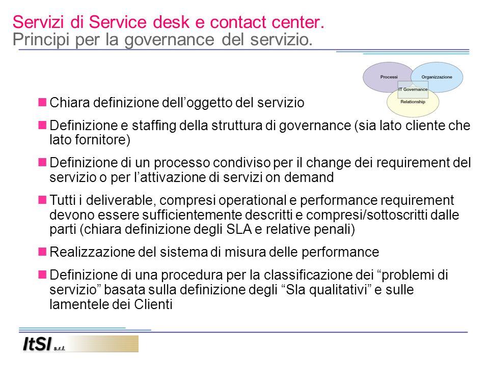 Servizi di Service desk e contact center. Principi per la governance del servizio. Chiara definizione delloggetto del servizio Definizione e staffing