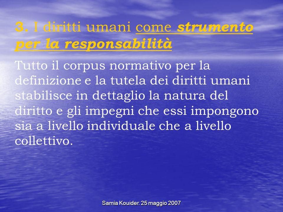 Samia Kouider. 25 maggio 2007 3. I diritti umani come strumento per la responsabilità Tutto il corpus normativo per la definizione e la tutela dei dir