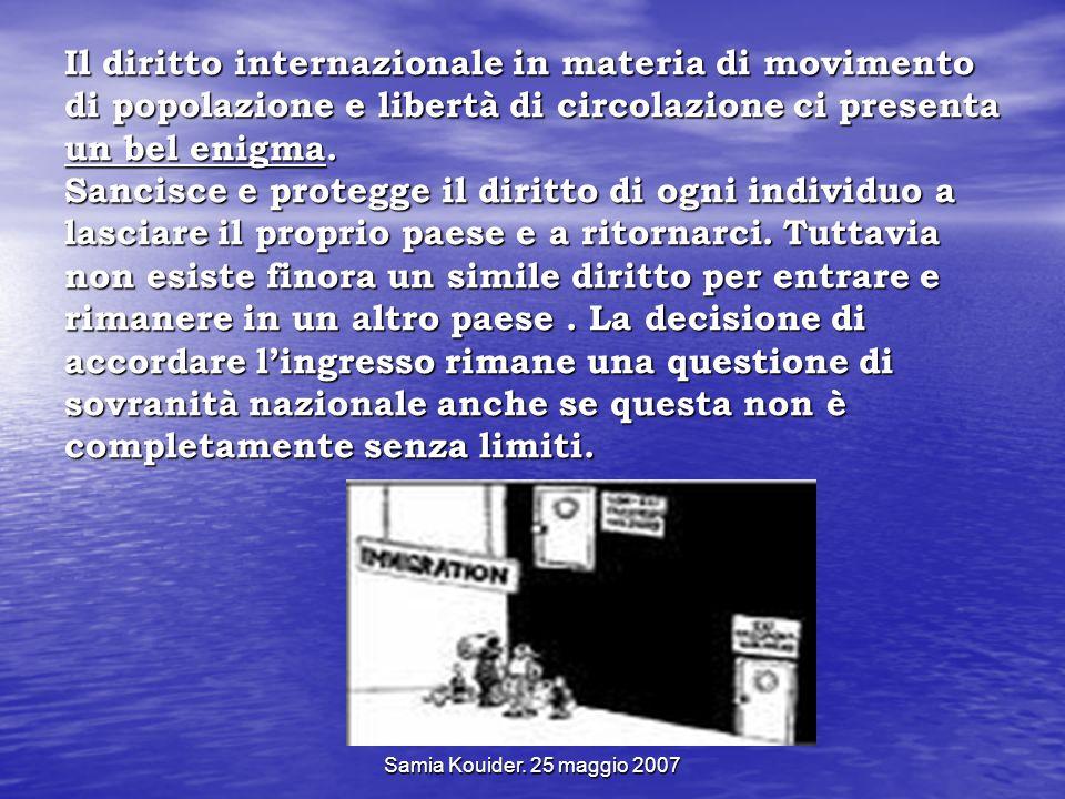 Samia Kouider. 25 maggio 2007 Il diritto internazionale in materia di movimento di popolazione e libertà di circolazione ci presenta un bel enigma. Sa