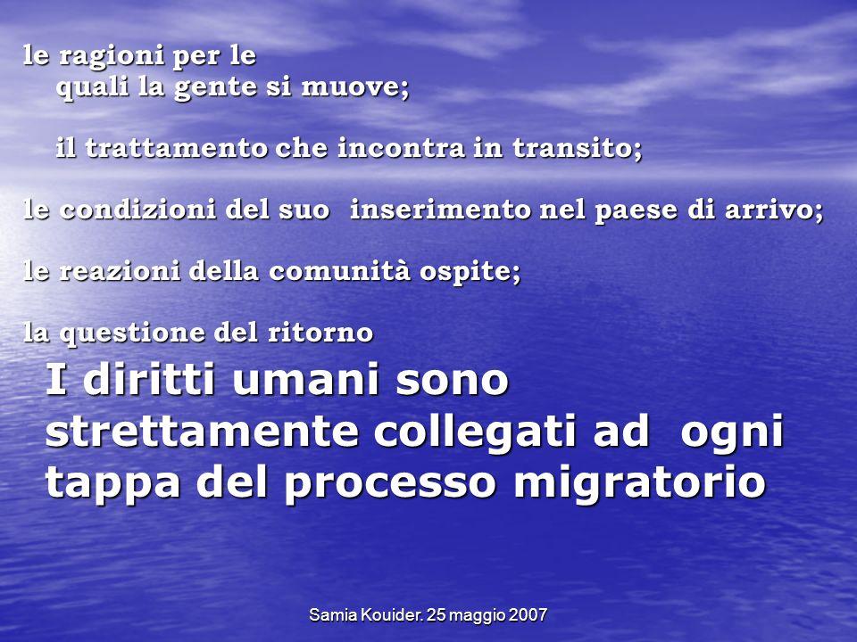 Samia Kouider. 25 maggio 2007 I diritti umani sono strettamente collegati ad ogni tappa del processo migratorio le ragioni per le quali la gente si mu